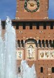 Castello Sforzesco. Main facade and fountain in Milan, Italy Stock Photo