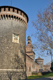 Castello sforzesco, milano. Main prospect of famous castle in city center, shot in bright winter light Stock Photo