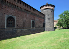Castello Sforzesco outside view Stock Image