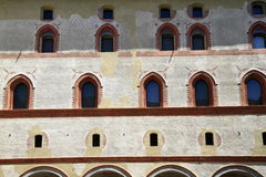 Castello Sforzesco är en slott i Milan Arkivfoton
