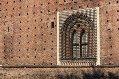 Castello Sforzesco - Sforza Castle Milan Italy. Sforza Castle XV century Castello Sforzesco Milan, Lombardy, Italy, Europe. Detail of an ancient window with stock photography