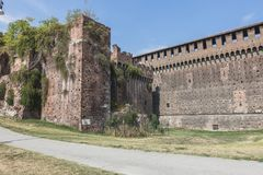Sforza Castle in Milan, Italy. Castello Sforzesco Sforza Castle in Milano , Italy . Europe. Defensive walls stock photo