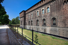 Castello Sforzesco, view from Via Stefano Jacini Stock Photo