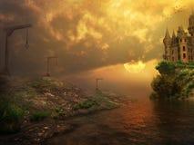 Castello triste al tramonto Fotografie Stock Libere da Diritti