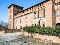Castello Visconteo (den Visconti slotten) i den Pavia staden arkivbild
