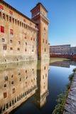 Castelloen Estense i Ferrara i Italien Fotografering för Bildbyråer