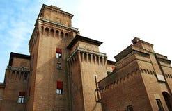 Castelloen Estense i Ferrara, Italien arkivbilder