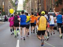 Castellon,西班牙 2019年2月24日, 在马拉松长跑期间的赛跑者 免版税图库摄影