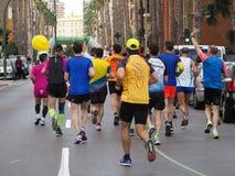 Castellon, Испания 24-ое февраля 2019 бегуны во время гонки марафона стоковое фото rf