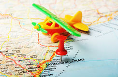 Castellon de la Plana map airplane Royalty Free Stock Photos