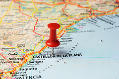 Castellon de la Plana map pin. Close up of   Castellon de la Plana , Spain  map with red pin ,travel concept Royalty Free Stock Photography