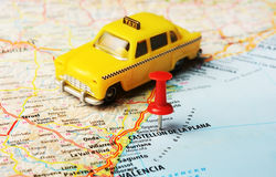 Castellon de la Plana map taxi car Royalty Free Stock Photo