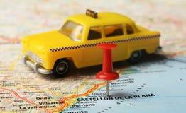 Castellon de la Plana map taxi Stock Image