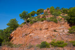 Castellon Desierto de las Palmas desert red mountains Stock Photo