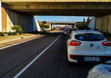 Castellon, Hiszpania 02/09/19: Ruchu drogowego dżem fotografia stock
