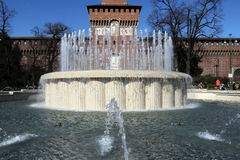 Castellosforzesco van Milaan, Milaan Stock Foto's