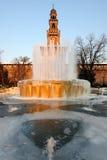 castellospringbrunnen iced den milan sforzescoen Royaltyfria Foton
