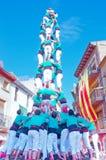 Castells表现在托雷登巴拉,卡塔龙尼亚,西班牙 库存照片