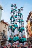 Castells表现在托雷登巴拉,卡塔龙尼亚,西班牙 库存图片