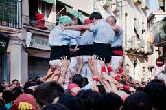 Castells表现在托雷登巴拉,卡塔龙尼亚,西班牙 免版税库存照片