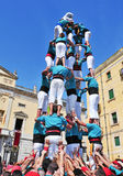 Castells, human towers in Tarragona, Spain Stock Images