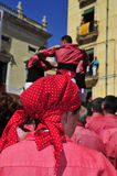 Castells, human towers in Tarragona, Spain Stock Photos