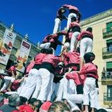 Castells, human towers in Tarragona, Spain Royalty Free Stock Image