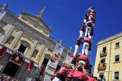 Castells mänskliga torn i Tarragona, Spanien Royaltyfri Fotografi