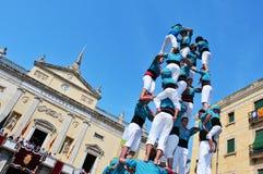 Castells, menselijke torens in Tarragona, Spanje Stock Foto
