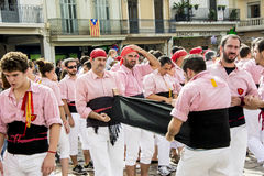 Castells Performance by castellers Royalty Free Stock Photography
