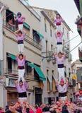 Castells Performance   in Torredembarra, Catalonia, Spain Stock Images