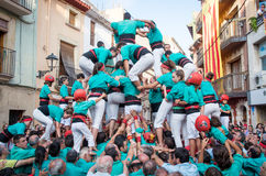 Castells Performance   in Torredembarra, Catalonia, Spain Royalty Free Stock Photo