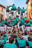 Castells Performance   in Torredembarra, Catalonia, Spain Stock Photos