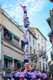 Castells Performance   in Torredembarra, Catalonia, Spain Royalty Free Stock Photos
