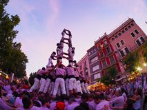 Castells in Terrassa. Castells Performance during the Festa Mayor 2013 in Terrassa, Catalonia, Spain. A castell is a human tower built traditionally in festivals royalty free stock photo