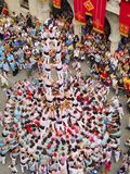 Castells in Terrassa. Castells Performance during the Festa Mayor 2013 in Terrassa, Catalonia, Spain. A castell is a human tower built traditionally in festivals Stock Photos