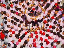 Castells in Terrassa. Castells Performance during the Festa Mayor 2013 in Terrassa, Catalonia, Spain. A castell is a human tower built traditionally in festivals Stock Photo