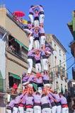 Castells występ w Torredembarra, Catalonia, Hiszpania Obraz Royalty Free