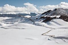 Castelluccio de Norcia en invierno Fotos de archivo libres de regalías