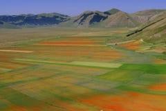 Castelluccio di Norcia/campos coloreados Foto de archivo libre de regalías