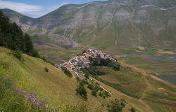 Castelluccio di Norcia destroyed by earthquake of central italy Royalty Free Stock Image