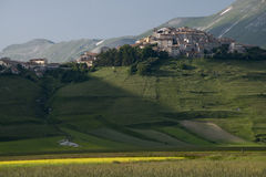 Castelluccio di Norcia, Umbria, Italy. The small town of Castelluccio di Norcia in Umbrial, central Italy. The town is in the Sibillini Mountains National Park Stock Images
