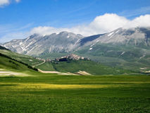 Castelluccio Mountains. The loneliness of the land of Castelluccio Mountains Stock Photo