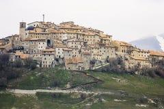 Castelluccio von Norcia vor dem verheerenden Erdbeben im Cent Lizenzfreie Stockfotografie