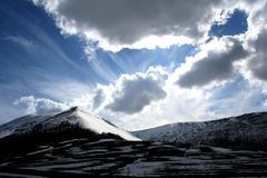 Castelluccio /winter landscape Stock Photos