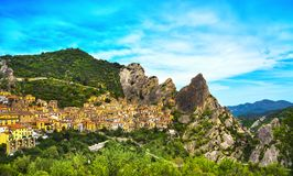 Castelmezzano village in Apennines Dolomiti Lucane. Basilicata royalty free stock photography