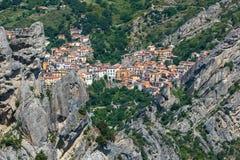 Castelmezzano w Basilicata, piękna wioska, Włochy Zdjęcie Stock