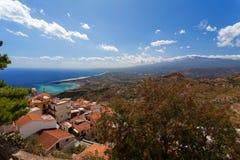 Castelmola, Sicily, Italy  - Panoramic view from Castelmola at  Mediterranean sea and volcano Etna Royalty Free Stock Photo