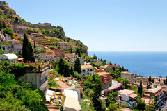 castelmola西西里岛taormina城镇视图 库存图片