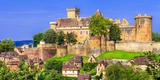 Castelnau布雷特努-中世纪城堡在法国 库存图片
